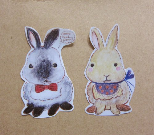 Hand painted illustrator style completely waterproof stickers hare yellow rabbit rabbit rabbit Siamese rabbit