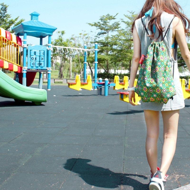 BLR 手工 印花 圖騰波波綠 束口袋