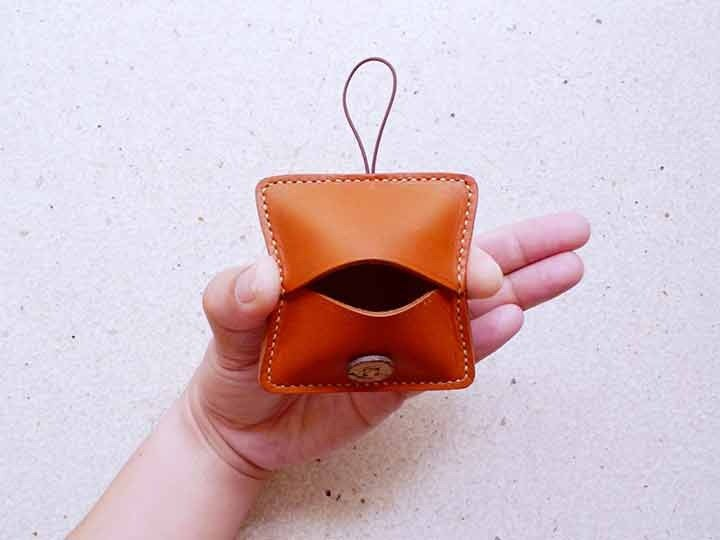 Honey Caramel Handmade Leather Square Coin Purse
