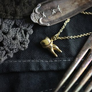 A Tooth (two fangs) Charm Necklace by Defy / Original Brass Handmade Jewelry