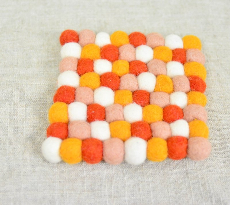 Wool ball square coasters _ _ _ red, white and orange of fair trade