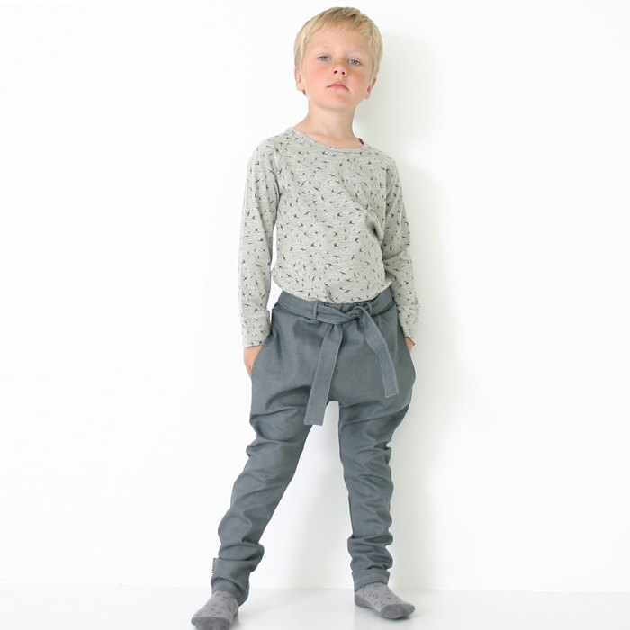 [Icelandic children's clothing] Children's organic cotton banded pants 2 to 6 years old gray