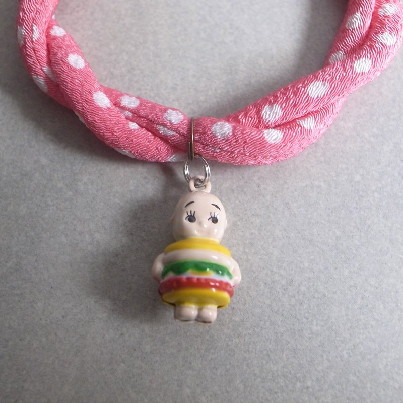 Japanese kimono dog collar & cat collar【Adjustable】kewpie hamburger_S size