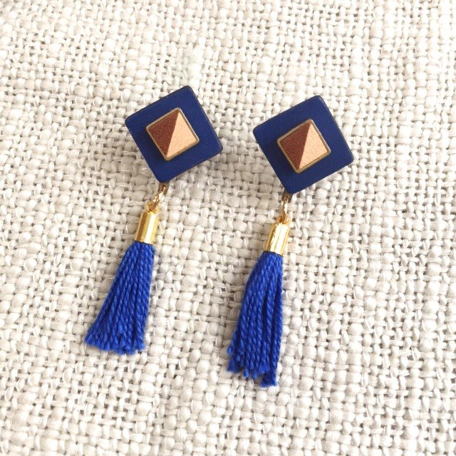 Handmade leather tassel earrings
