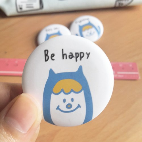Ning's badge / pin -Be happy (3.8cm)