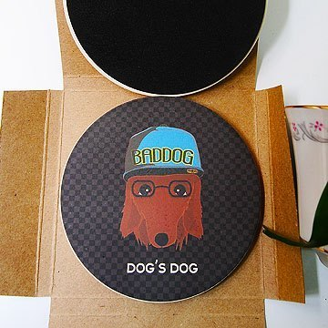 """DNS original design"" sausage detective absorbing UV painted ceramic coasters"