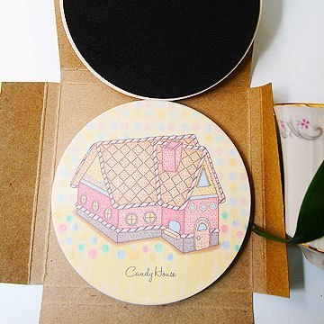 """DNS original design"" candy gingerbread house painted ceramics UV absorbent coaster"