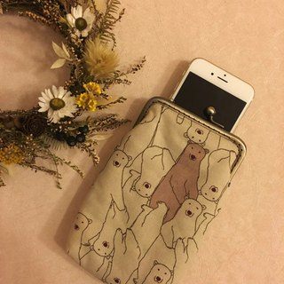 Hello! Polar bear mouth gold phone bag / glasses bag