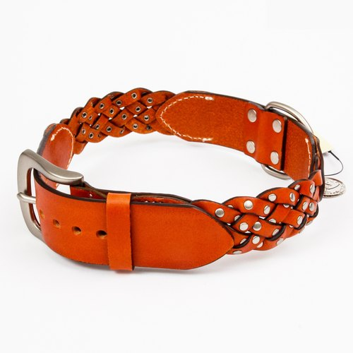 Ella Wang Design series rivet leather stitching leather collar - orange pet collar
