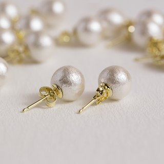Pure Pearl- Silver-white cotton pearl earrings