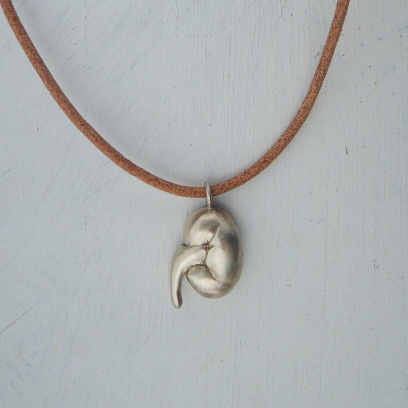 organs - kidney silver pendant with leather necklace