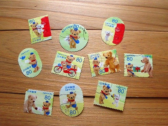 Japanese letter sales stamps handbook material shaped version cute bear postman 10 pieces into