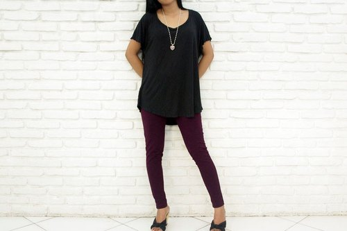 [Latest !!] stretch leggings Long Pants <Purple>