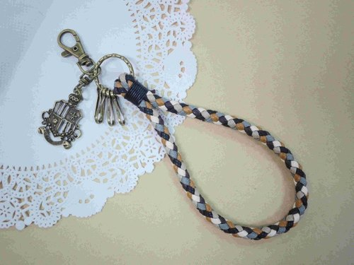 ~ M + Bear ~ vintage braided wire braided wax keychain key ring (brown)