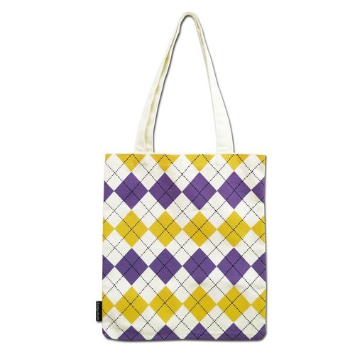 Purple yellow diamond lattice geometric print tote bag / shoulder bag / handbag / canvas bag