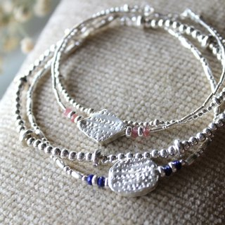 Journal (Valentine's Day limited - each series) - Complementary / silver hand-made, natural tourmaline + lapis lazuli bracelet bracelet bicyclic group
