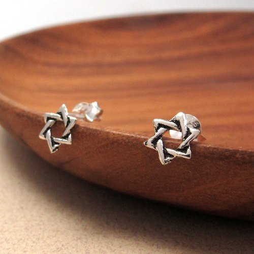 Sterling Silver Earrings Six Star 925 sterling silver earrings star shape-64DESIGN silverware