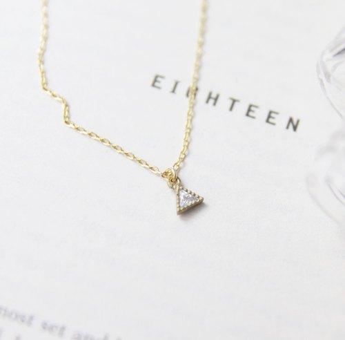 ◊ necklace zircon gold trim small triangle