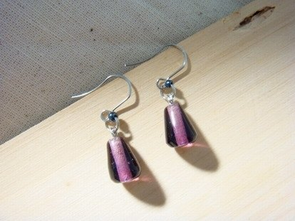 Grapefruit Forest Handmade Glass - Wild Glass Earrings Series - Grape Violet Drops (Can Be Clamped)