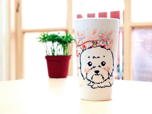 """NONCOOL‧ Cool farming"" new * Maltese ‧ ‧ elegance latte cup / oblique cup (400ml)"