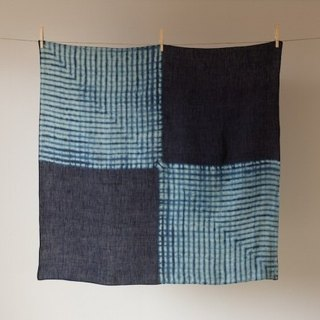 Pint! This blue dyed linen wind Lu Fu Furoshiki four corners