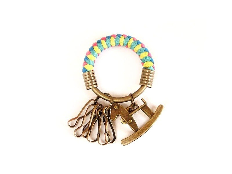 [Na UNA- excellent hand-made] key ring (small) 5.3CM pink lake + yellow + blue + green + bright Trojans shook hand-woven wax rope hoop customization