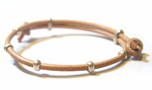 Japanese handmade sterling silver Kensscratch leather bracelet / Name 2.5mFree-brace