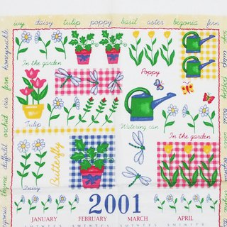 2001 American Early Cloth Calendar Garden work