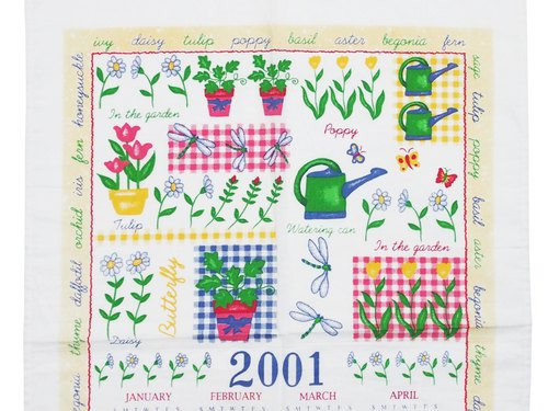 2002 Garden work early American cloth Calendar