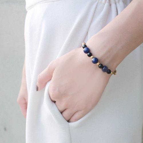 Beauty Scorpio constellation of 12 ◆ golden - natural stone / lapis lazuli / Onyx / sea bamboo / brass / bracelet bracelet gift custom designs