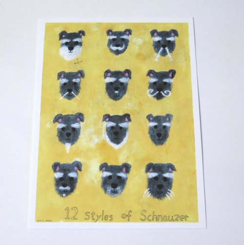 Dogs (Schnauzer) series beard Table Postcards