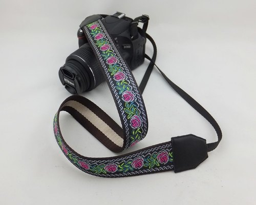 Camera strap can print personalized custom leather stitching national wind embroidery pattern 042
