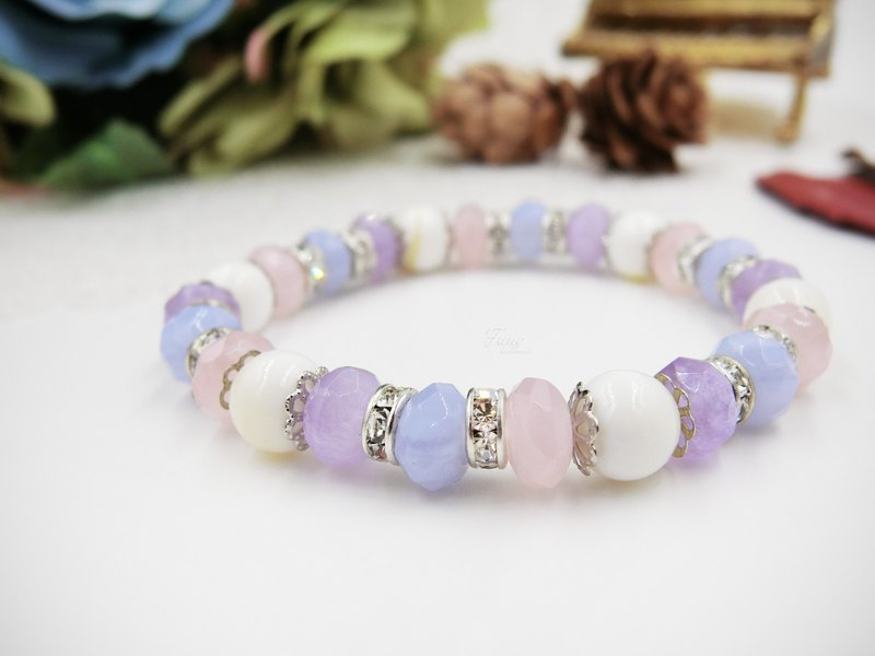 [Candy cans] powder crystal blue agate purple jade natural stone bracelet