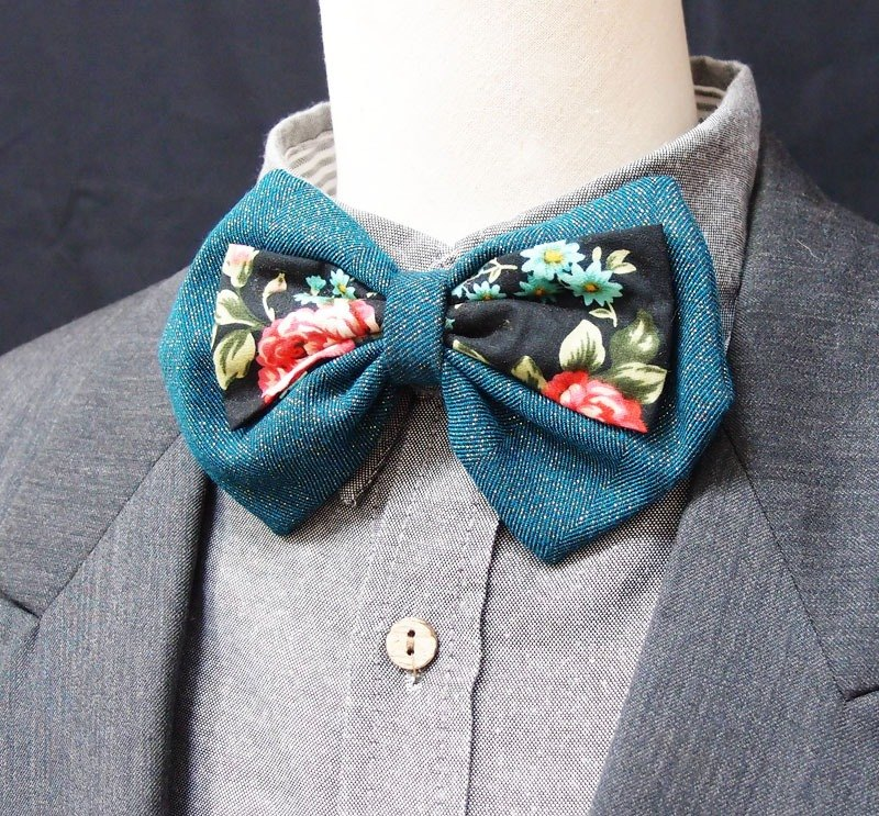 Classical Rose malachite green bow tie -big style
