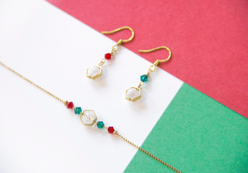 Christmas Gift / Celebration - Brass Bracelet Earrings Set