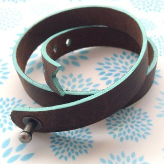 Italian thick leather colors Tiffany blue color fringing ribbon design bracelet