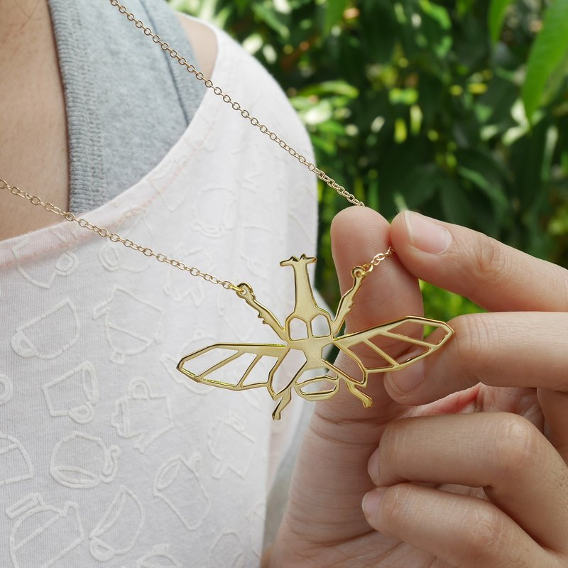 Rhino Beetle, Origami Necklace, Insect Jewelry, Insect gifts, Gift for her