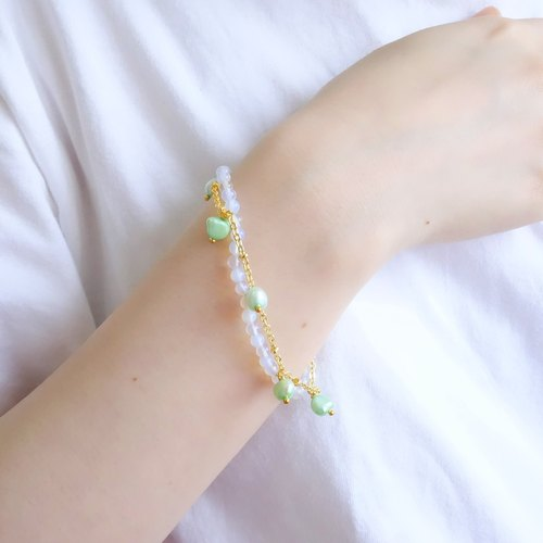 Morning Lover | Japan imported protein gilded fine freshwater pearl beads blue beaded bracelet