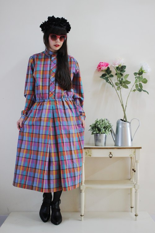 F1521 (Vintage) purple green plaid cotton long-sleeved vintage dress