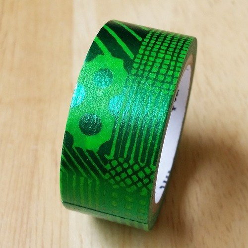 Mt and paper tape fab foil [hand-painted pattern - green (MTHK1P06)]