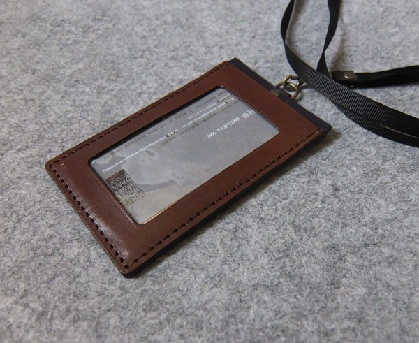 YOURS leather U-Style straight document holder (with neck rope webbing) dark wood color leather + personality black