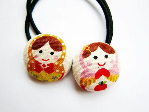 Hand-made cloth button hair headband ring Russian Dolls