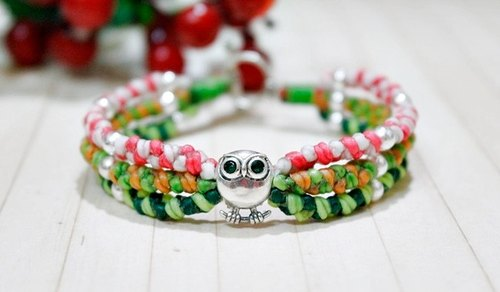 Thai silk silver wax lines X _ green eye color can be chosen owl @ # @ # cute