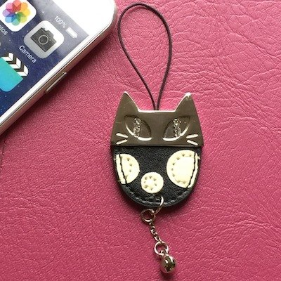 Noafamily, Noah big eyes cat Crystal phone strap _BK (J417-BK)