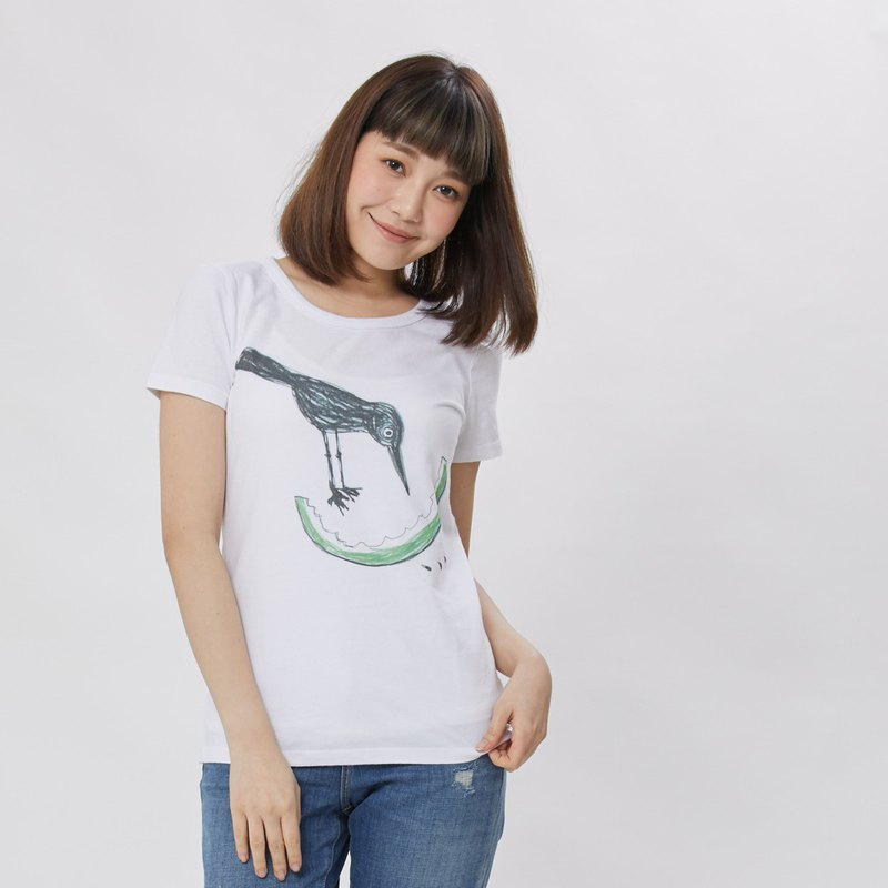 Bird love watermelon peach cotton round neck T-shirt