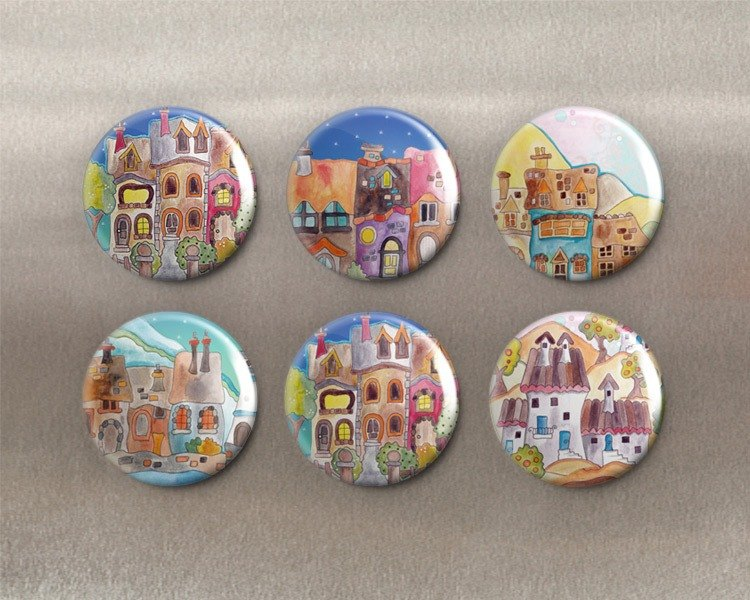 Happy Town - Magnet (6 in) / Badge (6 in) / Birthday Gift [Special U Design]