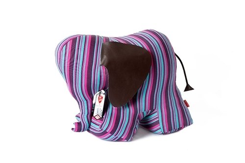 Elephant shape animal bookends - colored stripes