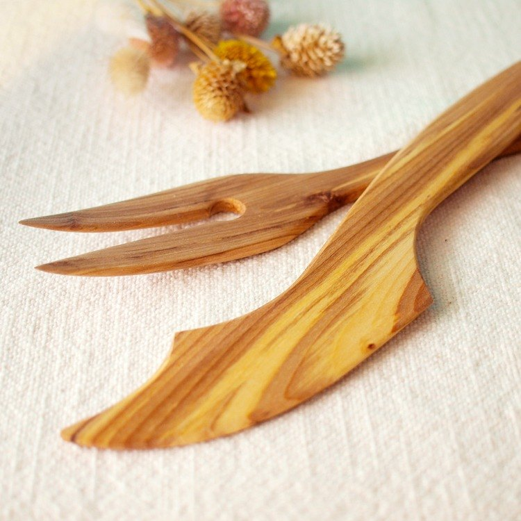 Finland VJ Wooden handmade wooden pizza knife and fork set