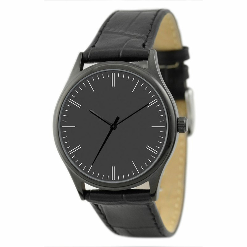 Simple Watch (black-faced white stripes) black shell