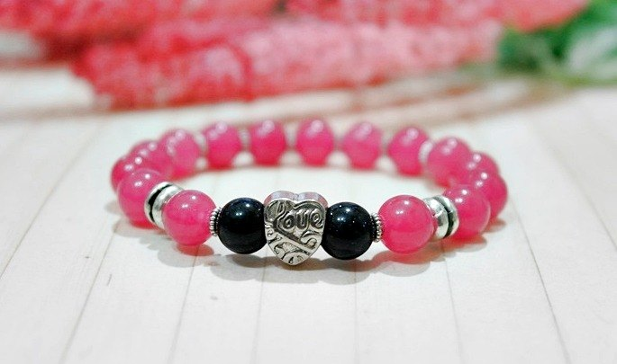 Natural stone x alloy bracelet _ sweet peach - limited * 1- # Valentine's Day